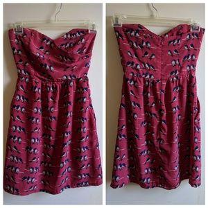 Strapless bird sundress with pockets